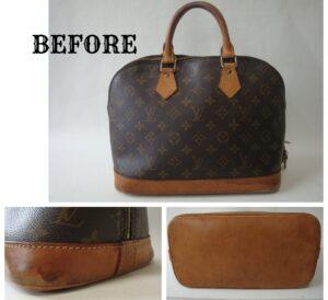 Louis Vuitton(ルイヴィトン)のモノグラム  アルマのハンドバッグ  ヌメ革の部分のみ  糸目残し染め直し施工